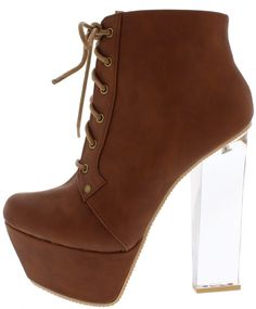MONTE01X COGNAC LACE UP CLEAR LUCITE PLATFORM BOOT ONLY $16.88