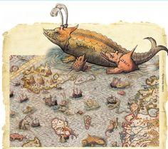 8 mapas medievais e renascentistas recheados de monstros marinhos