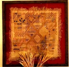 Rare and beautiful red and yellow textile. Because colors other than shades of brown are rare, this piece was idea for framing. All Kuba Cloth textiles are suitable for framing but the rare pieces are preferred. Delivery is 8 weeks and all textiles are original, $600 and up.