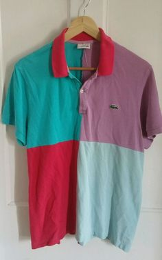 Lacoste Pique Knit Short Sleeve Polo Shirt Mens 5 Pastel Square  #Lacoste #PoloRugby