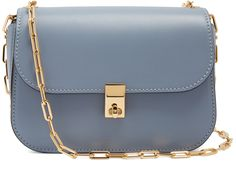 Mid Grey - VALENTINO Link-chain leather cross-body bag accessories - Dusty-blue leather women's handbag accessories - Crafted in Italy