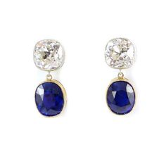 - Pair of cushion cut sapphire and diamond earrings, each hung with an oblong sapphire, & Jewelry Box, Jewelry Accessories, Vintage Jewelry, Fine Jewelry, Jewellery, Sapphire And Diamond Earrings, Blue Sapphire, Stone Earrings, Drop Earrings