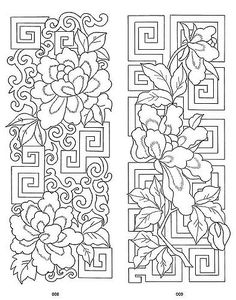 This is a free download from dover.  from: store.doverpublications.com/0486996042.html  Authentic motifs from the finest Chinese textile patterns, Buddhist murals, and other artifacts depict mythical creatures, animals, landscapes, flowers, and other subjects. The 108 designs — 54 in full color and 54 of the same image in black-and-white — can be adapted to a variety of uses according to their configurations.
