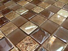 1x1 brown mosaic tile