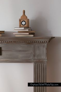 Painted fireplace mantel. Chalk Paint® decorative paint by Annie Sloan Coco and a wash with Country Grey