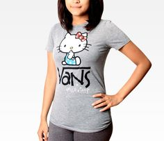 VANS x Hello Kitty Juniors Grey Tee: Quiet in Clothing Women's Tops at Sanrio