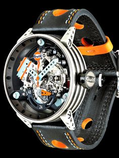 Another in the seemingly endless series of cool BRM watches, this is the BRM Gulf Automatic. Amazing Watches, Beautiful Watches, Cool Watches, Watches For Men, Brm Watches, Sport Watches, Men's Accessories, Style Masculin, Skeleton Watches