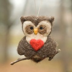 needle felted owl with heart