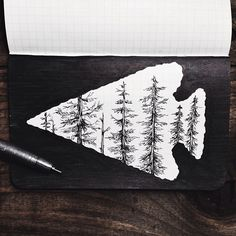 collinholy:  steelbison:  Tonight's sketch. #FieldNotes #arrowhead #trees #art  Wish I had a print of this  Planning on having prints by DEC...