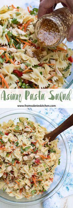 BEST OF RECIPES: ASIAN PASTA SALAD Vegetarian Pasta Salad, Healthy Pasta Salad, Recipe For Pasta Salad, Chicken Pasta Salad Recipes, Salad Recipes For Dinner, Summer Pasta Salad, Summer Salad Recipes, Summer Recipes For Dinner, Pasts Salad Recipes