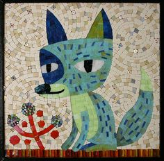 fox ready to grout / mosaic artist Donna Van Hooser / sundogmosaics, via Flickr