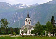 Church and waterfall