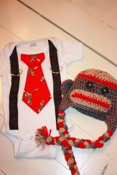 Boys Sock Monkey Shirt and Hat Set. $36.00, via Etsy.