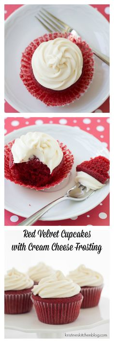 Moist red velvet cupcakes with a hint of cocoa, plus swirls of sweet, tangy cream cheese frosting.