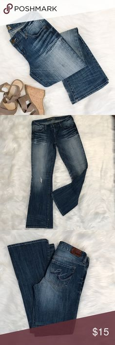 """Express Stella Boot Cut Jeans - 2S Express Stella Bootcut in excellent condition. Lightly distressed look, light-medium wash, no stains and bottoms look excellent! These jeans are so comfy and very flattering! Size 2 short, waist - 15"""" inseam - 30"""" Express Pants Boot Cut & Flare"""