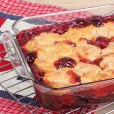 Recipe For Cherry Cobbler - A cobbler is a dessert that is made up of baked fruits topped with a batter. The all American dessert. For this recipe either fresh or frozen cherries can be used. Enjoy!