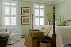 Linda Merrill Portfolio-Duxbury-Master Bedroom 1-Interior Design-Massachusetts green walls, four poster bed, shutters, antiques, baskets