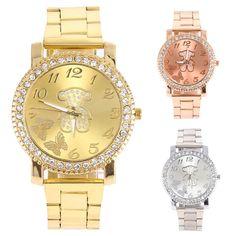 New women's Bear Butterfly Pattern Rhinestone Stainless Steel Quartz Wrist Watch