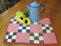 Classic 1890s Nine Patch DOLL Table Antique Quilt Double PINK Blue 17 x 13