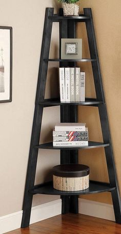 Snuggle this Furniture of America Merill Ladder Shelf into any corner to maximize space and create visual drama. This handsome ladder shelf. Ladder Bookshelf, Ladder Display, Wood Display, Wood Ladder, Corner Ladder Shelf, Bookshelf Ideas, Display Case, Corner Storage, Shelving Display