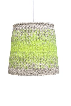 yellow + white knit lamp