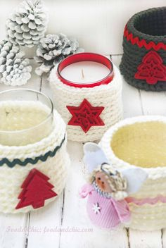 Crochet Christmas Decorations, Homemade Christmas Decorations, Christmas Crochet Patterns, Holiday Crochet, Crochet Coffee Cozy, Crochet Cozy, Christmas Projects, Christmas Time, Free Crochet Bag