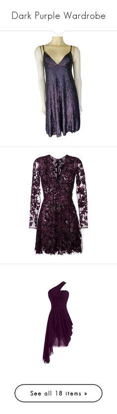 """Dark Purple Wardrobe"" by alyssawui ❤ liked on Polyvore featuring dresses, purple, purple sequin dress, purple evening dress, glitter cocktail dresses, hologram dresses, holiday cocktail dresses, vestidos, robe and short dresses"