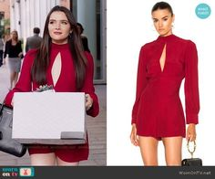 Jane's red front cutout romper on The Bold Type.  Outfit Details: https://wornontv.net/77692/ #TheBoldType