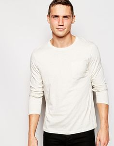 ASOS Long Sleeve T-Shirt In Oatmeal With Pocket