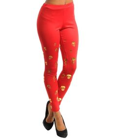 SEXY TRENDY RED SKULL GOTH ROCKER CHIC PUNK STRETCHY 80'S LEGGINGS PANTS NEW #shopjaded