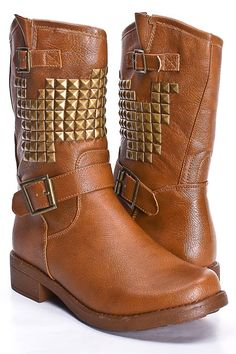 #Tan boots with studs  women shoes #2dayslook #new #shoes #nice  www.2dayslook.com