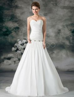 White Sweetheart Neck Beading Taffeta Bridal Wedding Gown - Milanoo.com