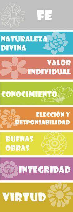 Marcador de escrituras valores MMJJ en español. #sud #mujeresjovenes #mormon Fuente: Etsy.com