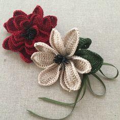 crochet flower brooches