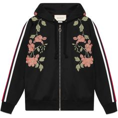 Gucci Embroidered Jersey Sweatshirt ($1,875) ❤ liked on Polyvore featuring tops, hoodies, sweatshirts, jackets, black, ready to wear, sweatshirts & t-shirts, women, striped sweatshirt and striped hooded sweatshirt