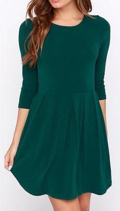 Keen About You Dark Green Skater Dress