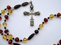 Anglican Prayer Beads / Rosary, Sterling Silver Green Amber Cross, Baltic Amber Nugget Beads