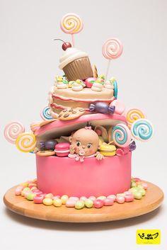 tarta muy elaborada para baby shower