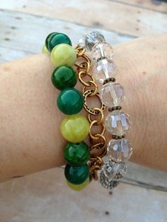 3 Strand Green and Yellow Beaded Bracelet Brass by MallEadornments, $20.00