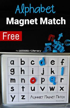 Make learning the letters of the alphabet fun and hands on with this free printable alphabet magnet match! All you need are magnets and a cookie sheet! Printable in Documents as alphabet-magnet-match Alphabet Kindergarten, Teaching The Alphabet, Preschool Literacy, Preschool Letters, Learning Letters, Teaching Kindergarten, Teaching Resources, Lapbook Templates, Alphabet Magnets