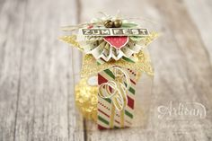 """cute little transparent box made with """"This Christmas"""" Specialty Designer Series Paper and """"labeler alphabet"""" stamp set ~ Jessica Winter Christmas Favors, Stampin Up Christmas, Christmas 2016, Christmas Cards, Christmas Ornaments, Merry Christmas, 3d Paper, Paper Crafts, Advent"""