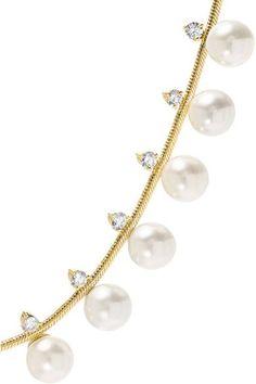Jemma Wynne - 18-karat Gold, Pearl And Diamond Necklace - one size