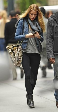 denim, gray tee, black pants, boots, scarf (maybe I would like a leopard print...)