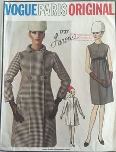 VPO1737 Guy Laroche Coat & Dress 60s Sz16/36/38 c/c excellent sld 44+3 8bds 6/22/15