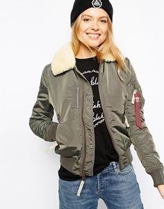 Alpha Industries Injector Bomber Jacket With Shearling Collar at asos.com fb1b7eb50c
