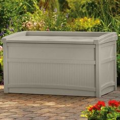 This Outdoor Storage Box will make a great addition to your deck, pool, patio or garden. The 50 Gallon container is water, weather, and UV resistant in Taupe finish to keep everything dry and organized.
