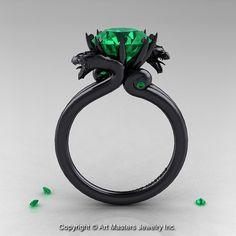 Art Masters 14K Black Gold 3.0 Ct Chatham Emerald Dragon Engagement Ring R601-14KBGCEM
