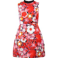Victoria By V. Beckham Structured Floral Dress ($1,250) ❤ liked on Polyvore featuring dresses, slim fit dress, structured dress, back zipper dress, flower print dress and red dress