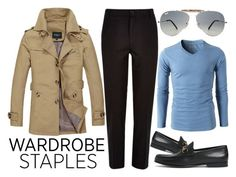 """""""Rugged Rascal - Business Casual Wardrobe Staples"""" by latoyacl ❤ liked on Polyvore featuring River Island, Ray-Ban, Gucci, men's fashion and menswear"""