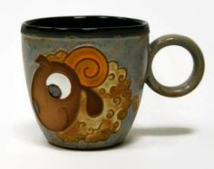 Pottery, pottery mug, ceramics and pottery, ceramic cup, coffee mug, pottery teacup, hendmade, funny cup, Ram Sheep, mug, cup,  handpainted